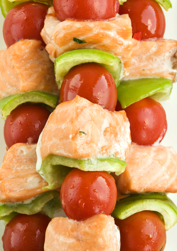 Fresh Tomatoes and salmon kebabs